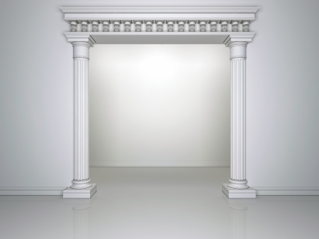 Beautiful arch with two columns on the background wall white