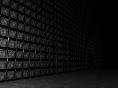 overdrive: Big wall of guitar amps Stock Photo