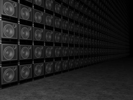 Big wall of guitar amps photo