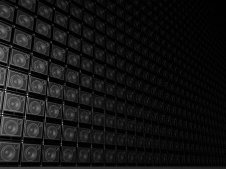 speaker box: Big wall of guitar amps Stock Photo