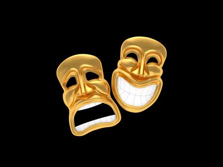 Maska teatralna z uśmiechem samodzielnie na czarny photo