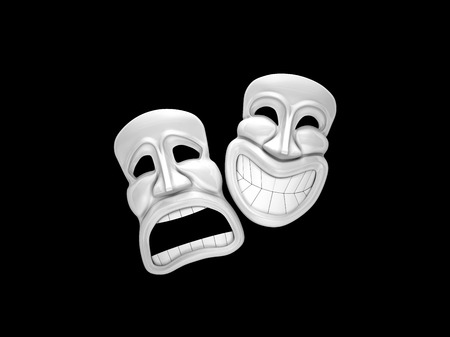 Theatrical mask with a smile  Isolated on black photo