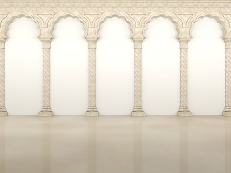 column arch: Luxurious wall with graceful columns and arches