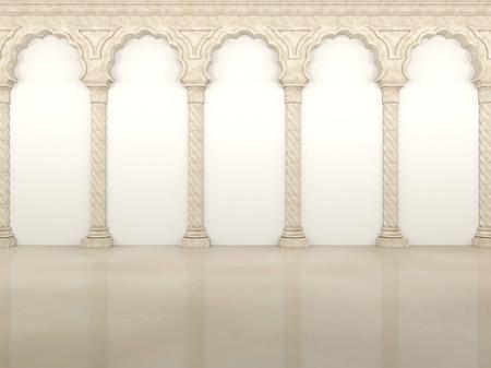 Pared de lujo con elegantes columnas y arcos