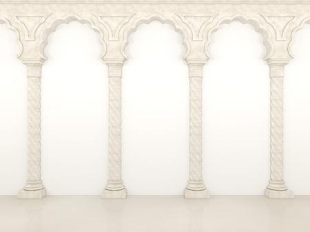 優雅な列とアーチを持つ豪華な壁 写真素材