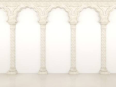 Luxurious wall with graceful columns and arches