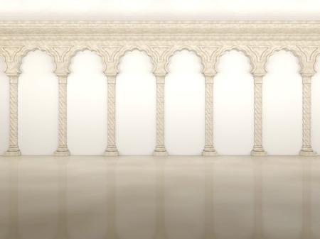 優雅な列とアーチのある豪華な壁