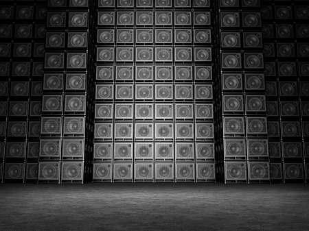 Wall of guitar amps photo