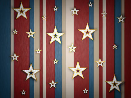 Background is of different color stripes and gold stars of different sizes Stock Photo
