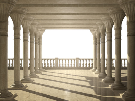 Colonnade of ancient columns  Isolated on white Stock Photo