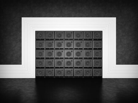 Abstract wall of guitar amps photo