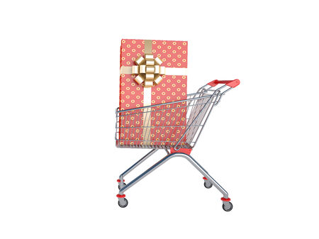 Shopping supermarket cart  A great buy  Isolated on white  photo