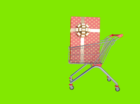 Shopping supermarket cart  A great buy  Isolated on green  photo
