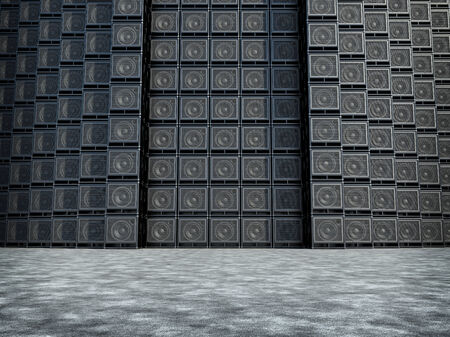 Wall of guitar amps  Daylight photo