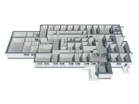 Isometric view of the first floor plan. Isolated on white Stock Photo