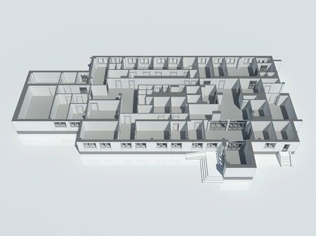 rebuild: Isometric view of the first floor plan