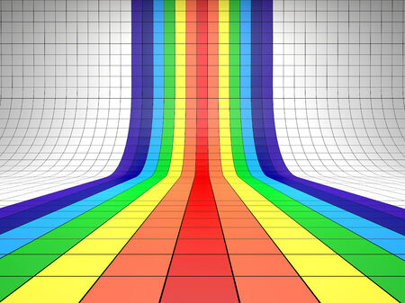 perspective grid: Abstract background with the perspective grid. Rainbow