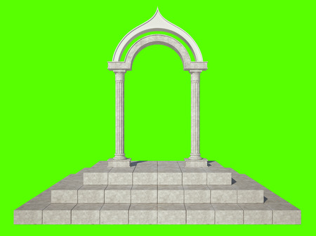 grandiose: Classical arch and two columns of unusual shape. Isolated on green background Stock Photo