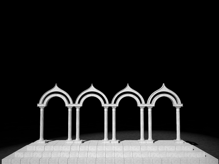 grandiose: Abstract antique colonnade of columns on a black background Stock Photo