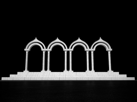 colonnade: Abstract antique colonnade of columns on a black background Stock Photo