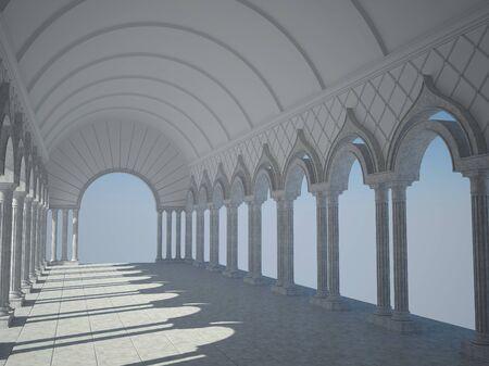 grandiose: Classic interior with arches and columns.