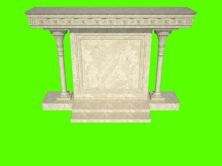 greece granite: Abstract architectural structure in classical style. Isolated on green