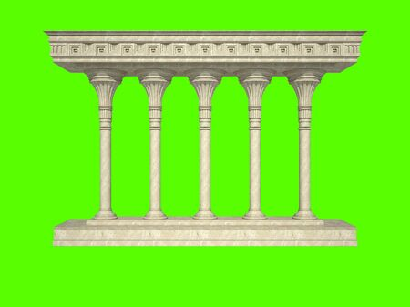 greece granite: Architectural structure in classical style. Isolated on green Stock Photo