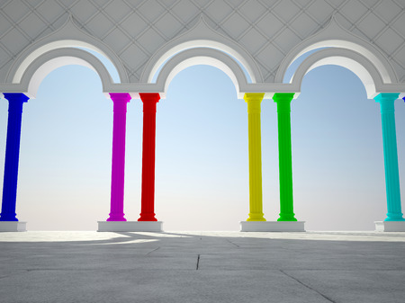 grandiose: Abstract interior in classic style with colorful columns Stock Photo