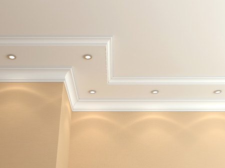 my home: Ceiling cornice. Stock Photo