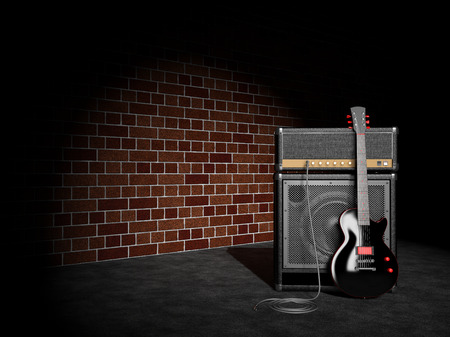 guitar amplifier: Electric guitar and guitar amplifier on wall background Stock Photo