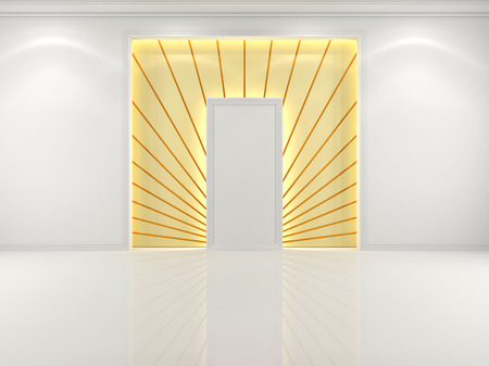 archway: Niche in the wall white with decorative golden rays Stock Photo