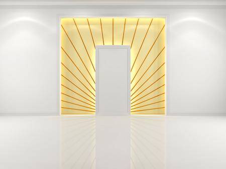 grandiose: Niche in the wall white with decorative golden rays Stock Photo