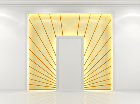niche: Niche in the wall white with decorative golden rays Stock Photo