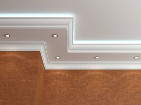 molding: The ceiling in a classic style. 3d rendering Stock Photo