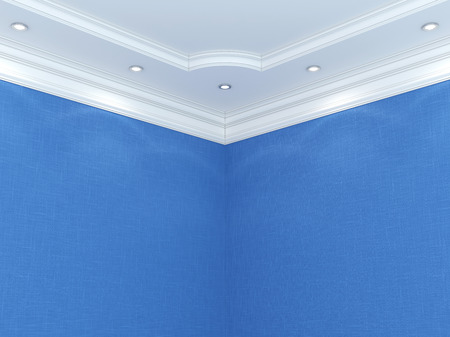 blue design: Ceiling cornice. Stock Photo