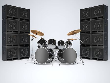 drum and bass: Drum kits and guitar amps