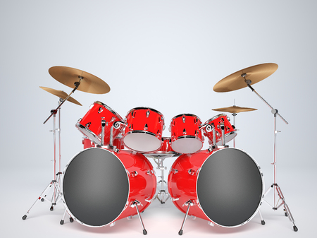 red drum: Drum set red on a white background Stock Photo