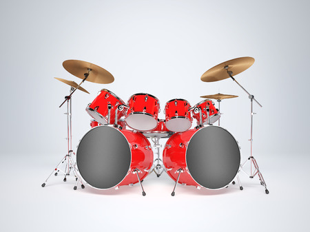 Drum set red on a white background Imagens