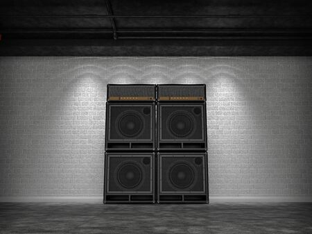 amplify: Guitar amps against a white brick wall