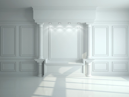 Wall with classical columns and moldings