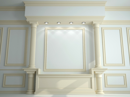 molding: Wall with classical columns and moldings