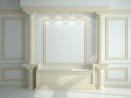 클래식 열 및 몰딩과 벽