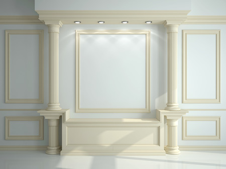 molduras: Wall with classical columns and moldings