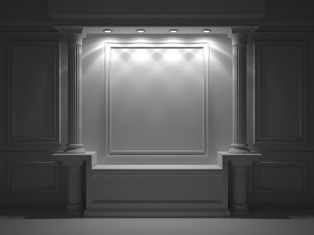 advertising column: Wall with classical columns and moldings. 3d rendering Stock Photo