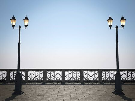 balcony: View of the embankment with fencing and street lights Stock Photo