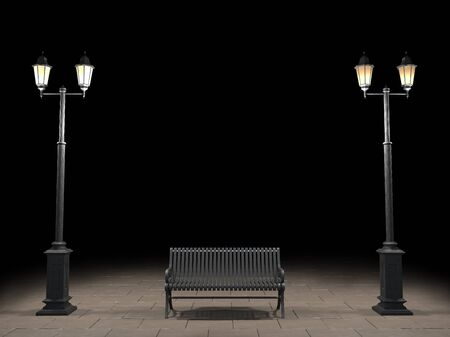 street light: Night view of the bench and street light