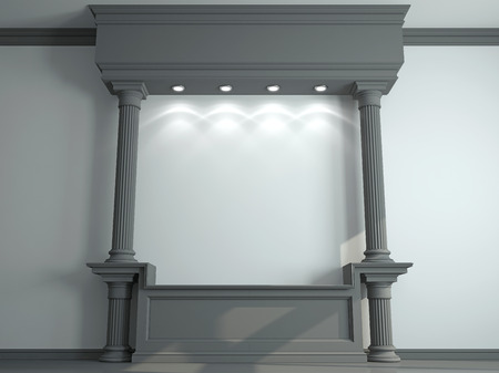 moldings: Wall with classical columns and moldings. 3d rendering Stock Photo