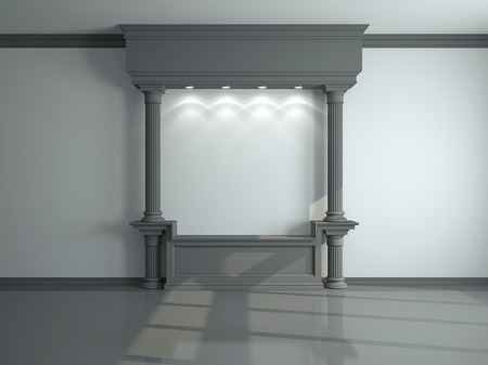Wall with classical columns and moldings. 3d rendering Stok Fotoğraf