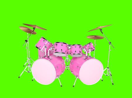 double bass: Drums pink with two bass drums. Isolated on green