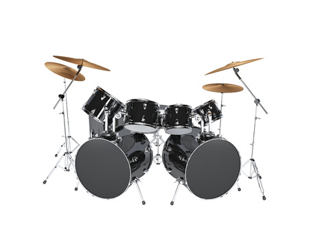 set: Drum kit with two bass drums. Isolated on white